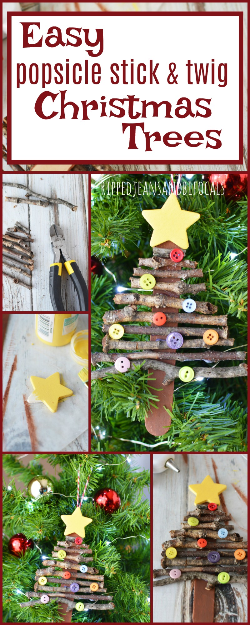 Super easy holiday craft for kids! Popsicle stick Christmas tree ornament|Ripped Jeans and Bifocals