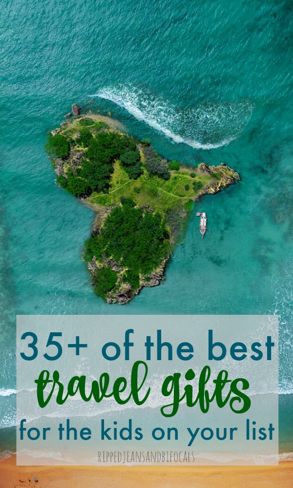 Picture of an island with text: Best travel gifts for kids