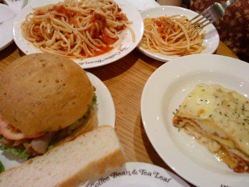 CBTL food- spicy tuna linguine, roast beef sandwich, lasagna
