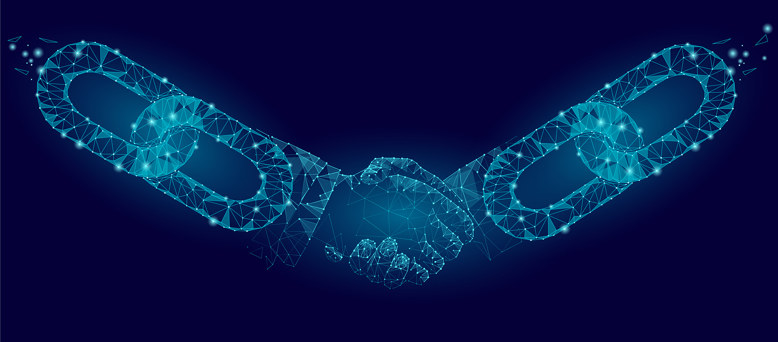 Blockchain technology agreement handshake business concept low poly. Polygonal point line geometric design. Hands chain link internet hyperlink connection blue vector illustration art
