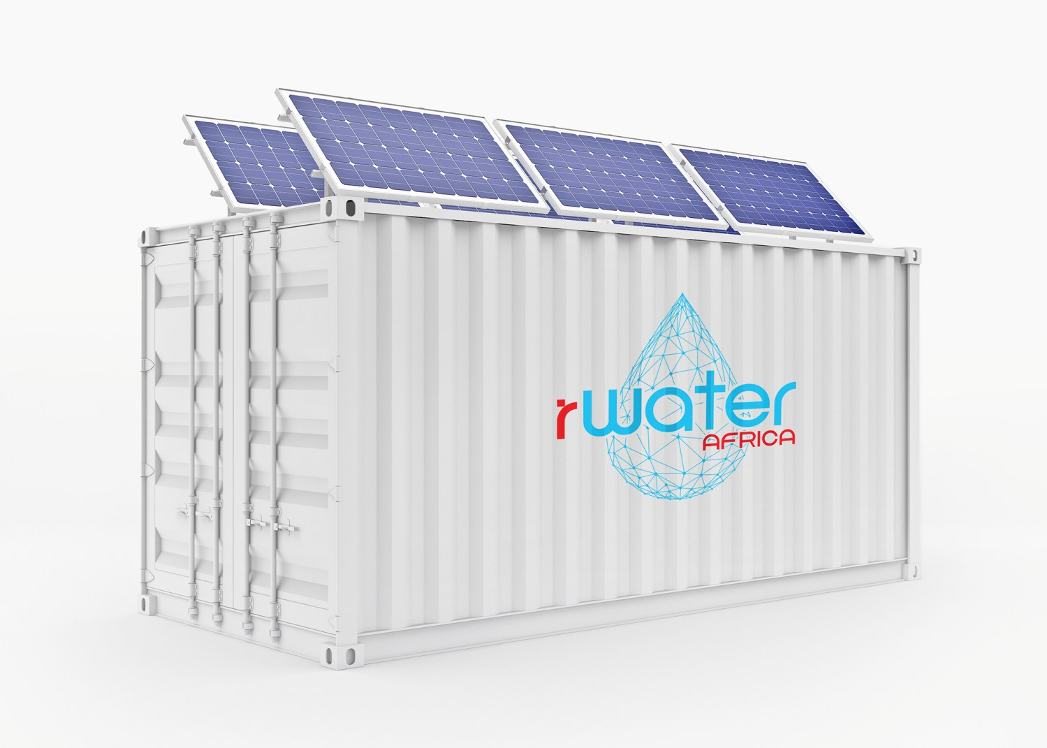 Container box with solar panels on the roof 3D render /isolated