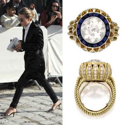Check out Mary Kate Olsen s vintage Cartier engagement ring   Telegraph Mary Kate Olsen pictured arriving at the Louis Vuitton autumn winter show  wearing her