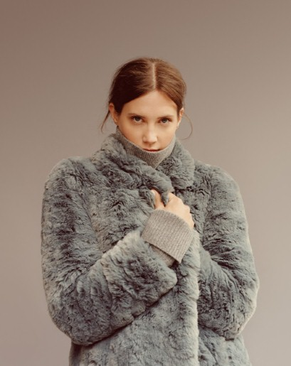 Model wears Kumiko textured faux fur coat, £275, Whistles