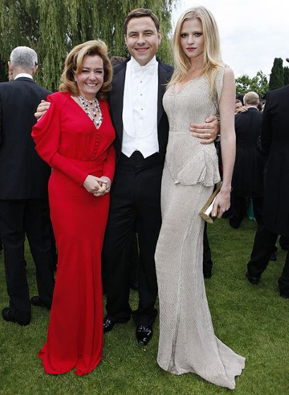 Chopard co-president, Caroline Gruosi-Scheufele (left), in Maria Grachvogel, with David Walliams and Lara Stone, in a gown by Calvin Klein.