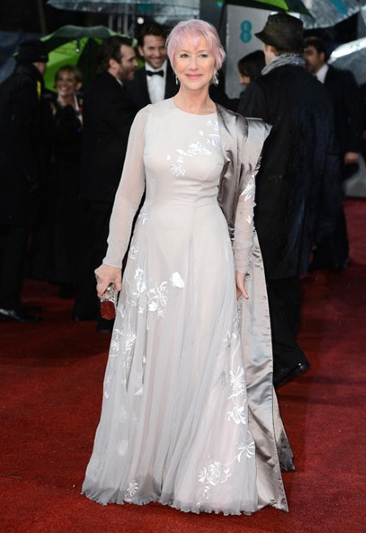 Dame Helen Mirren in Nicholas Oakwell Couture at the 2013 Baftas
