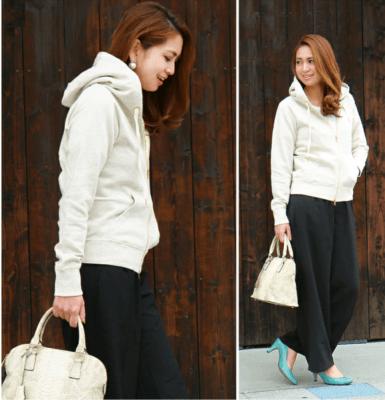 Sweet&Sheep ジップアップパーカー 春ファッション 30代