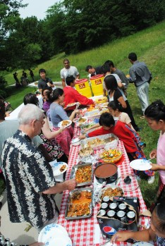 A potluck had an array of foods from around the world.