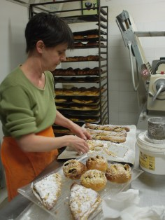 Céline preparing pastries