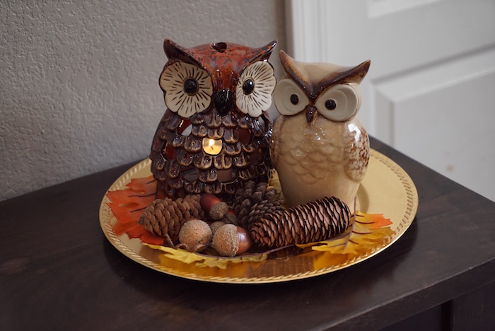 fall decor owl candle plate