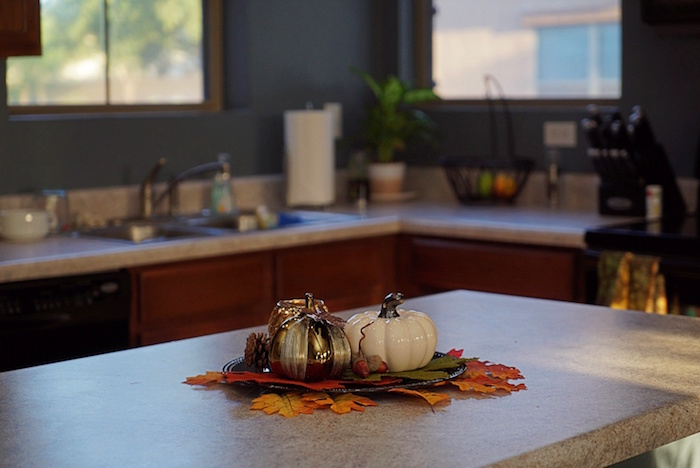 fall decor in kitchen island