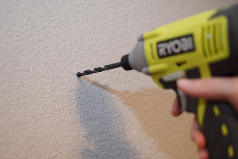 drill the hole on your pencil mark with a power drill