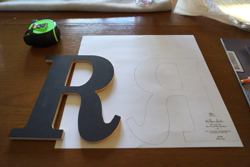 decoupage letter, trace onto paper