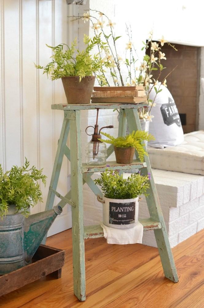spring decor - vintage ladder