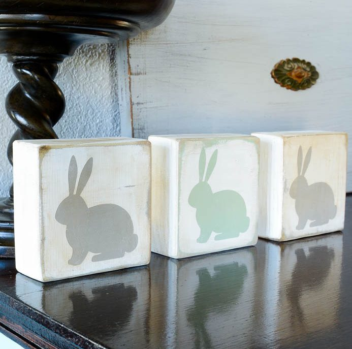 spring decor - bunny blocks