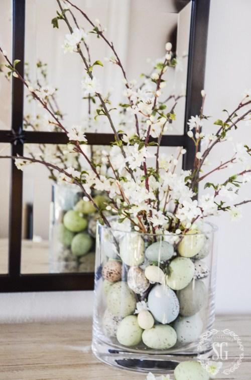 spring decor - pastel eggs in glass vase