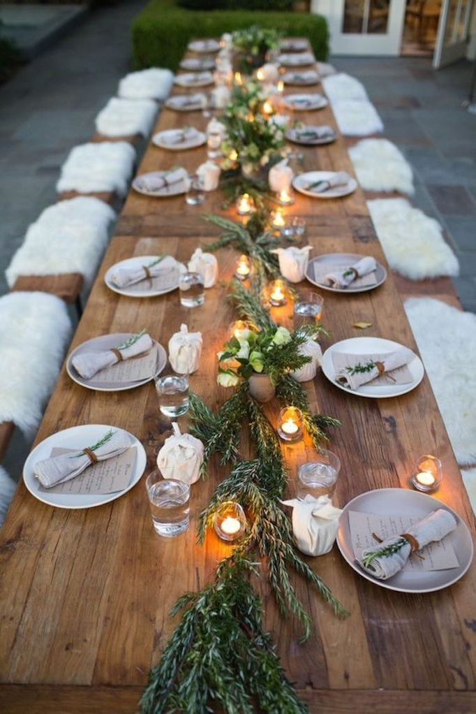Thanksgiving Table Ideas - rosemary tablescape