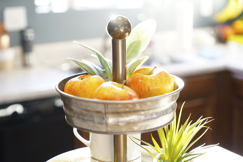 spring decor - serving stand apples