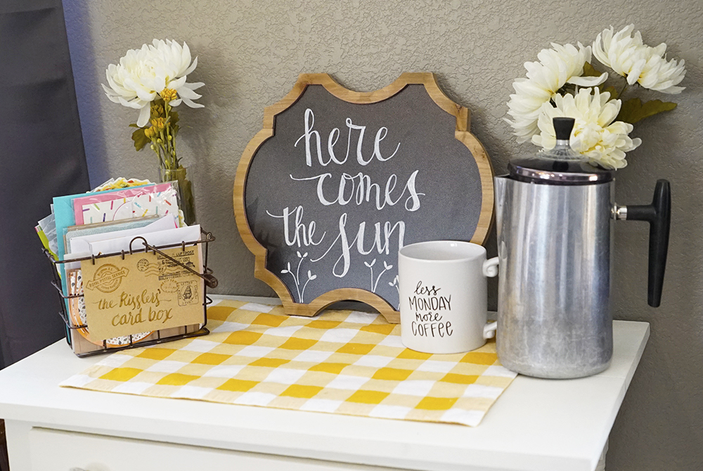 spring decor - side table chalkboard coffee