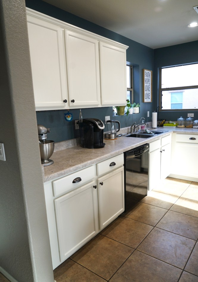 how to paint kitchen cabinets white - after side wall