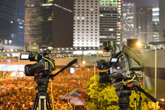 Media from around the world came to report on the growing Occupy movement in Hong Kong. Photo Credit: Max/ Flickr (CC By 2.0)