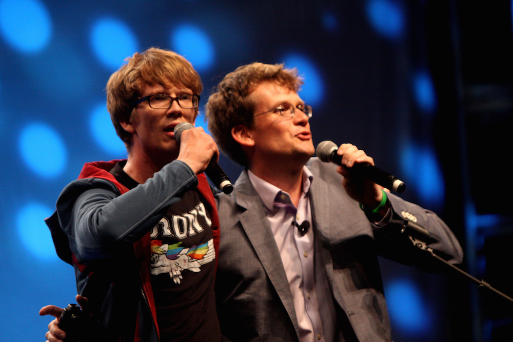 Hank Green (L) and John Green (R) speaking at VidCon 2012 at the Anaheim Convention Center in Anaheim, California. Photo Credit: Gage Skidmore