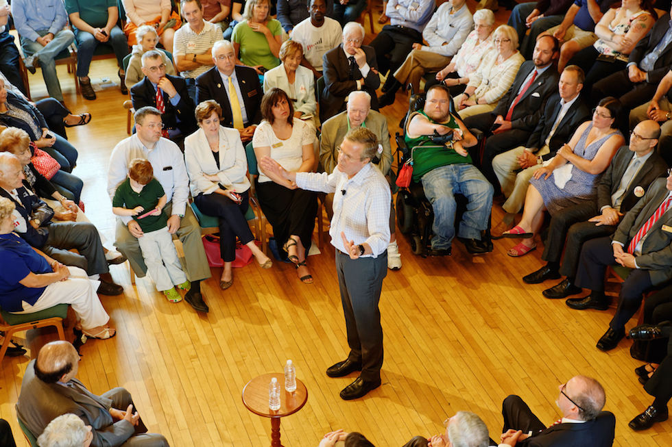 Bush at a town hall meeting event at Adams Opera House in Derry, New Hampshire. Photo Credit: Michael Vadon/ Flickr (CC By 2.0)