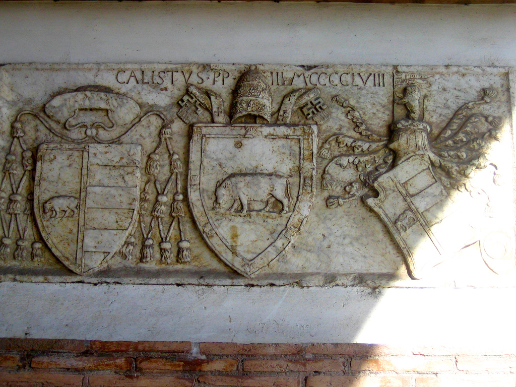 One of Rome's few memorials of the first Borgia pope, Calixtus III, from the tail end of the fifteenth century. Photo Credit: Anthony Majanlahti/ Flickr (CC By 2.0)
