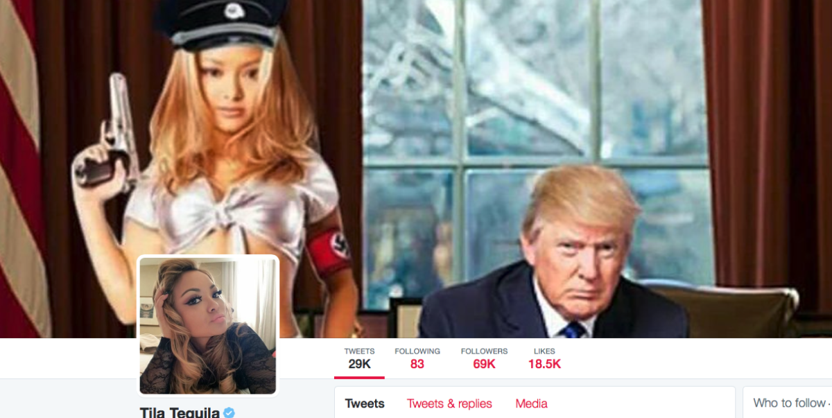 This is Tila Tequila's actual Twitter cover photo right now.