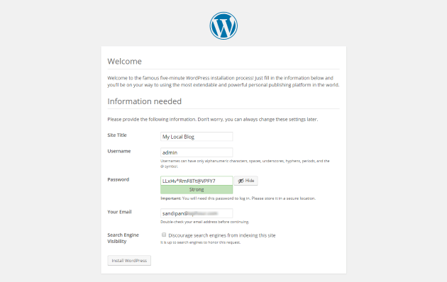 WordPress Welcome Screen