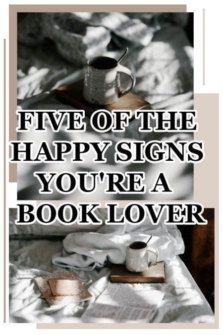 """Five of the Happy Signs You're a Book Nerd. Talking a *few* of the """"signs you're a book lover"""" scenarios. What are some you recognize? Text © Rissi JC"""