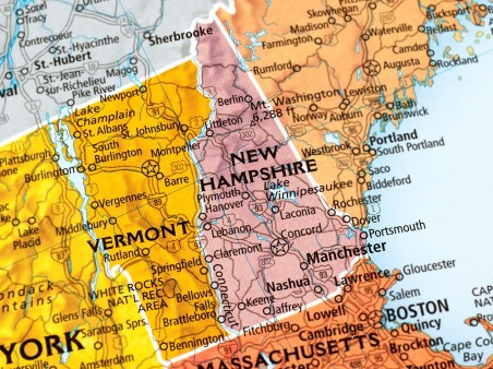 Map of Vermont and New Hampshire States in USA.