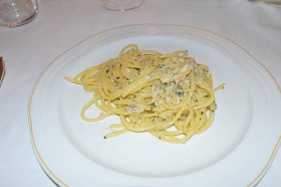 Spaghetti al piccato di sgombro