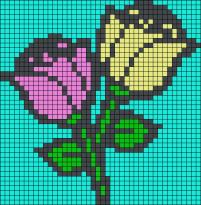 14.Рисунки по клеточкам роза