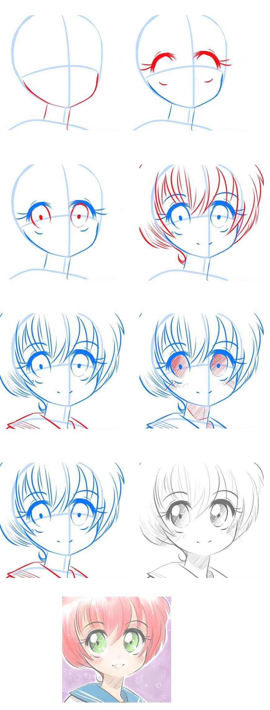 Картинки для срисовки поэтапно для начинающих аниме