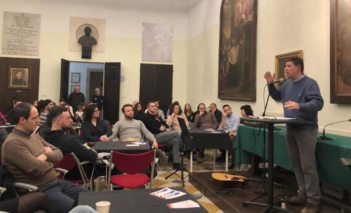 Giuseppe Spimpolo ieri sera in Seminario