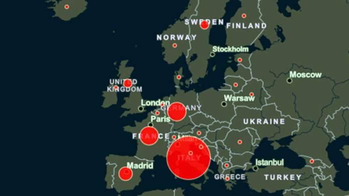 La mappa del contagio in Europa
