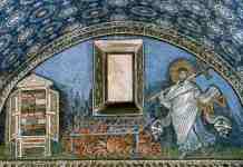 San Lorenzo, primo diacono e martire raffigurato nel mosaico del Mausoleo di Galla Placidia