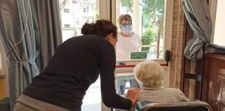L'incontro di oggi tra la signora Marisa Venturi e la sua mamma, Liliana, di 97 anni