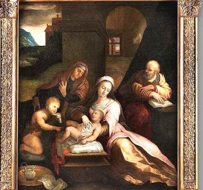 Barbara Longhi (1552-1638), Sacra Famiglia con San Giovannino e Santa Elisabetta Olio su tela (117 x 94 cm)