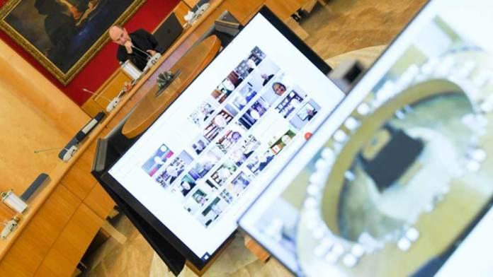 Un momento dell'incontro on line del Consiglio permanente della Cei
