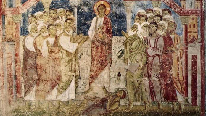 Esorcismo nella sinagoga di Cafarnao (XI secolo) affresco, Austria, abbazia di Lambach, ex campanile