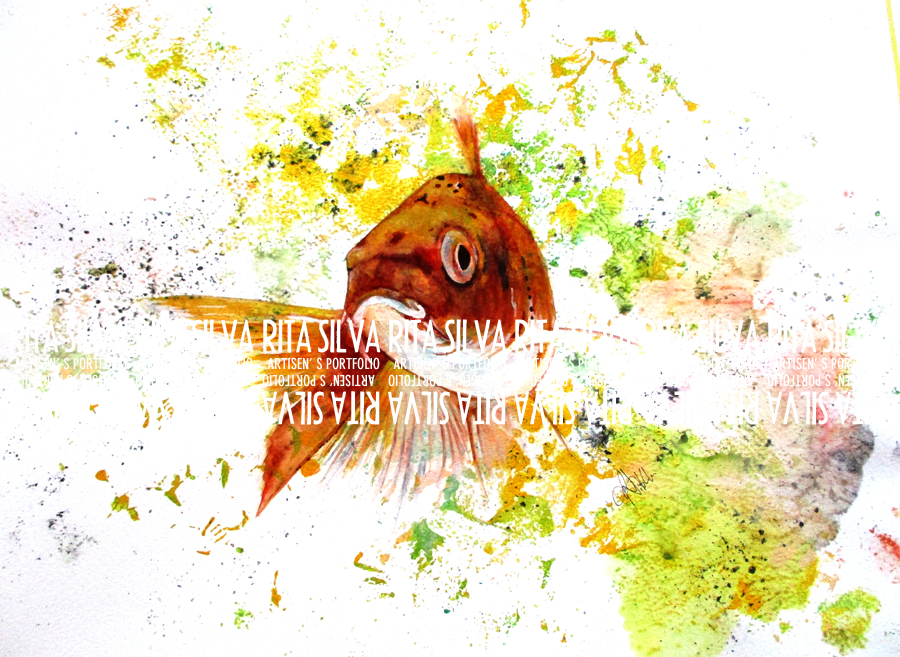 Ma Koi Fish - Watercolor Mixed Media Illustration