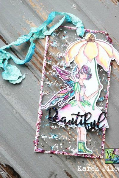 Beautiful Fairy Glitter Tag by Karen
