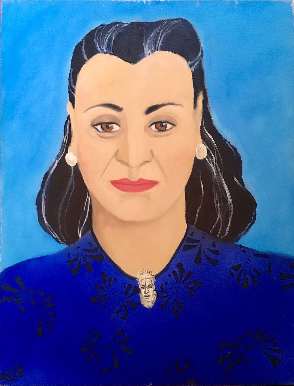 Mother with Benin brooch, oil paint on canvas (1985)