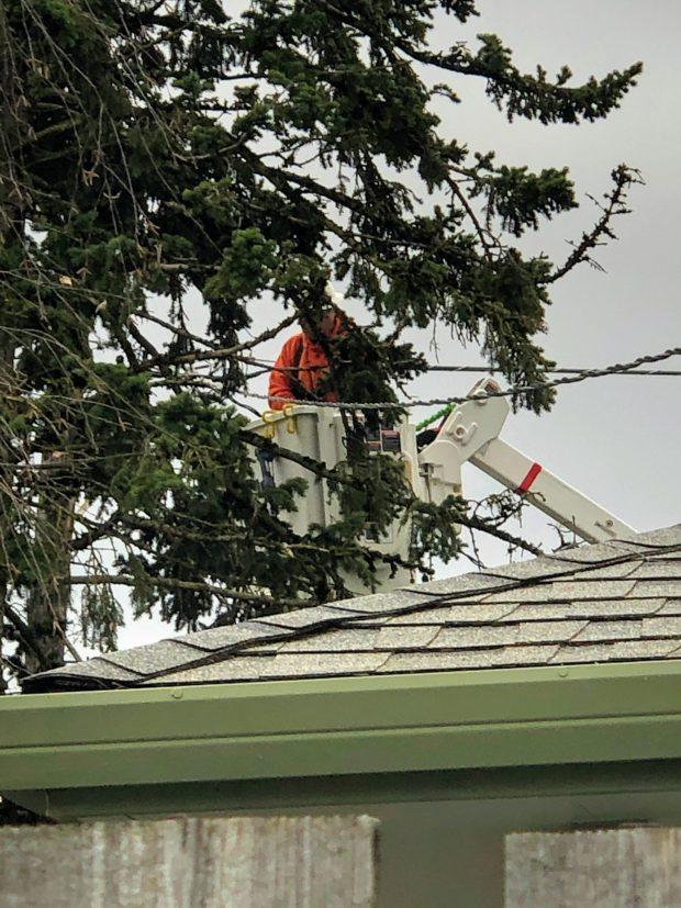 Power lineman working to restore power