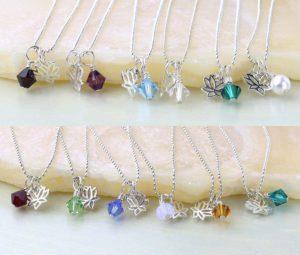 Lotus birthstone necklaces