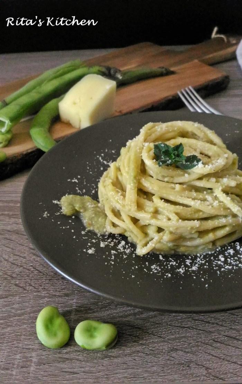 spaghettoni alla crema di fave e pecorino