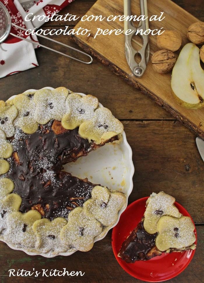 crostata con crema al cioccolato e pere
