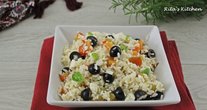 insalata di riso con peperoni,feta e olive