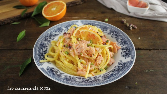spaghetti al salmone e arancia